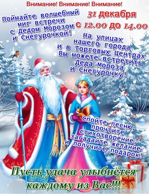 Встреча с Дедом Морозом и Снегурочкой на улицах города